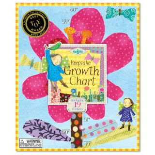 eeBoo Hot Pink Flower Growth Chart Childrens Wall Decor