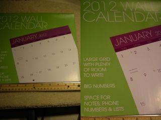 2012 Wall Home Office Planner Organizer School Work Datebook