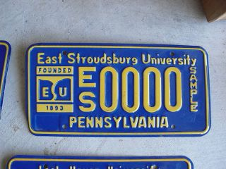 Pennsylvania License Plate East Stroudsburg U Sample