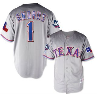 2012 Elvis Andrus Texas Rangers Grey Road Jersey w 40th Patch Mens M