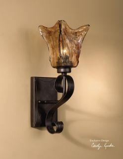 Electric Wall Sconce 100 Watt Lamp Iron & Glass Light European Style