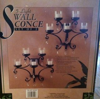 Light Wall Sconce Set Of 2 Chandelier Candle Tea Light Glass Drops