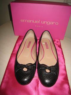 Emanuel Ungaro authentic designer black python snake skin flat shoes