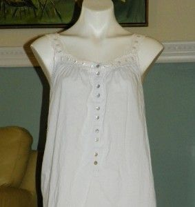 Eileen West White Classics Cotton Baby Blue Long Nightgown x Small