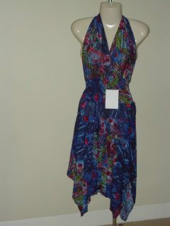 NEW Blue Green Maroon Peacock Feather Print SUNDRESS Halter Misses XL