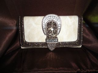 NEW~Fall Tan+Brown WALLET for purse Montana West   Buckle Rhinestones
