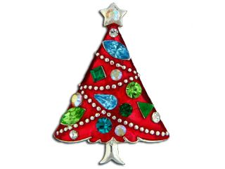 Eisenberg Ice Crystal Christmas Tree Brooch   Pin