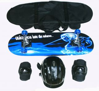 Complete Skateboard w Helmet Knee Elbow Bag Set Mission