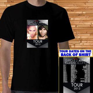 Enrique Iglesias Jennifer Lopez TOUR 2012 mens black T Shirt S M L XL