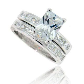 Emerald Cut Cubic Zirconia Sterling Silver Engagement Wedding Bridal