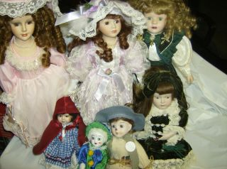Set of 7 Porcelain Dolls Emerald Doll Collection Lady Anne BK