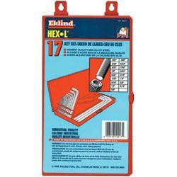 Eklind Tool Company 17 Piece Long Series Hex L Key Set in Metal Box
