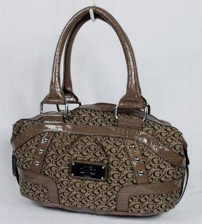 New Guess Enya Womens Brown Signature Satchel Shoulder Bag Handbag