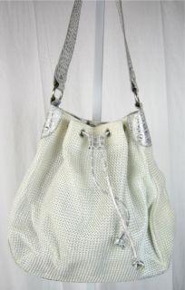 Emilie M White Woven Fabric Shoulder Handbag Faux Leather Silver Trim