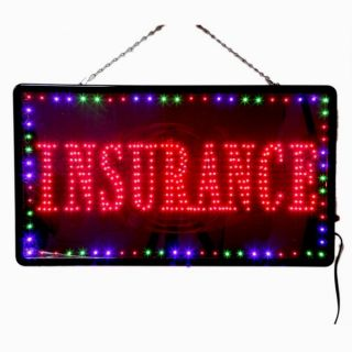 New Large LED Insurance Business Open Sign with Motion Switch 27 2x15