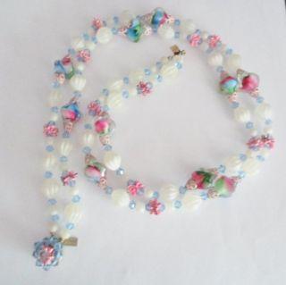 Vendome Crystal Necklace Pink Art Glass Enamel 2 Strand Vtg Coro