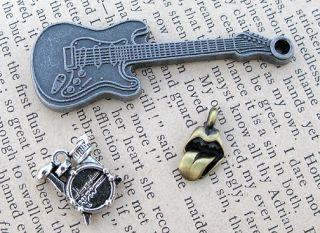 Rock Band Rolling Stones Guitar Silver Charm Pendants