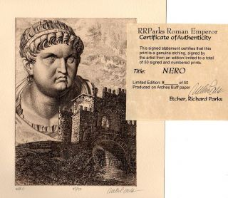 Nero Roman Emperor Limited Edition Etching Portrait Real Ancient Roman