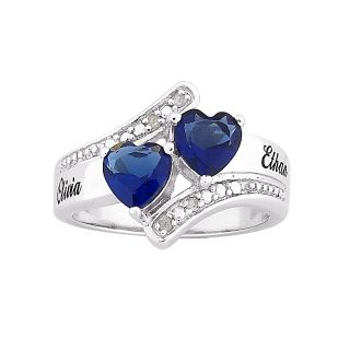 Sterling Silver Couples Birthstone Color Crystal Hearts and Name Ring