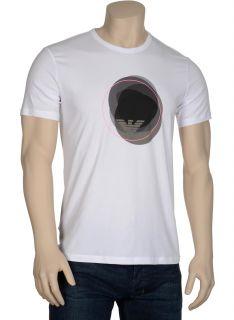 Emporio Armani Mens T Shirt x Large XL Cotton Crewneck White Graphic