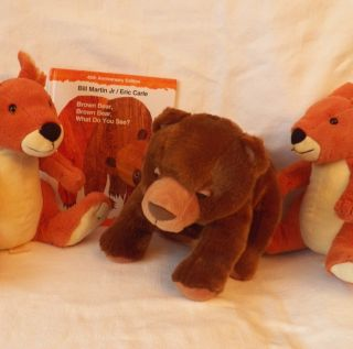 Eric Carle Kohls Cares Plush Toy Lot Stuffed Brown Bear 2 Kangaroo Set