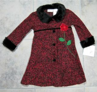 Girls Black Velvet Dress Size 2T Matching Red Coat Roses Blueberi Fur