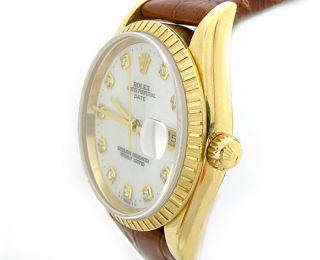 Rolex 18K Yellow Gold Mother of Pearl Diamond Dial Mens Watch w