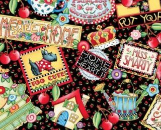 Mary Engelbreit Fabric Mottos Sweet Home Scottie Couch Cherries BTY