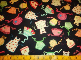 Mary Engelbreit Fabric Kitchen Capers Cotton Fabric Aprons Toss