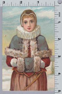 Elizabethan Collar Woman w Fur Muff Victorian Vintage Card