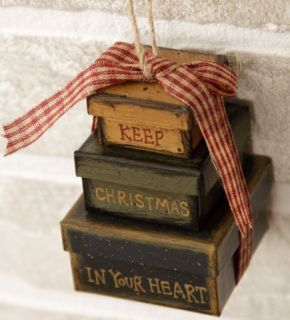 PRIMITIVE KEEP CHRISTMAS IN YOUR HEART NESTING ORNAMENT ~NEW