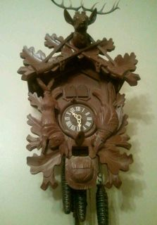 West German Swiss Thorens Black Forest Cuckoo Deer Elk Clock 3 Weights