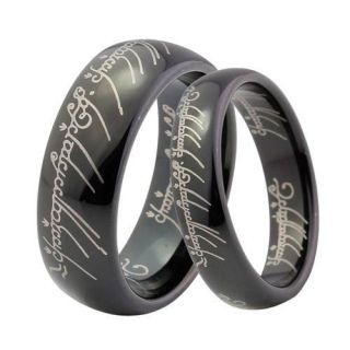Mens Black Lord LOTR Laser Engraved Band Ring Size 8 14