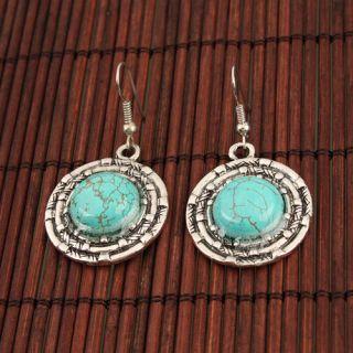 Elegant Turquoise Round Earrings Eardrop Dangle Alloy & Antique Silver