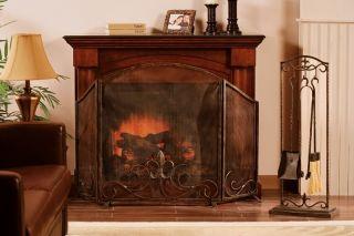 Ornate Scroll Fireplace Screen with Glass Votives Fleur de Lis Black
