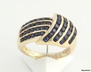 37ctw Genuine Dark Blue Sapphire Cocktail Band 10K Yellow Gold Ring