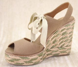 New Tory Burch Brown Canvas Lace Up Espadrille Wedge Platform Sandals