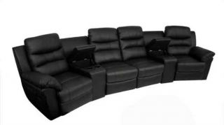 Elias Home Theater Seats 6pc Black Seat Recliner Chairs