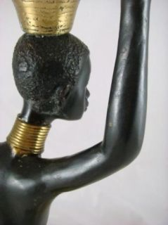 Vintage Brass Figural Metal African Tribal Woman Statue Sculpture