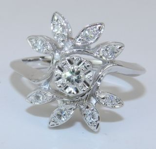 Vintage Estate Antique Diamond Cluster Cocktail Ring 14K White Gold G