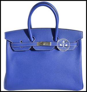 BIRKIN BAG BLEU ELECTRIQUE EPSOM  BLUE JEAN LINING  PALLADIUM #9704