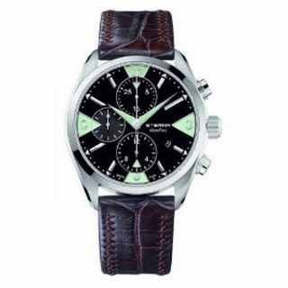Eterna Kontiki Mens Chrono Automatic Date Leather Wrist Watch