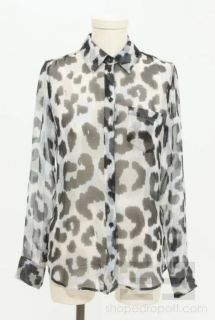 Equipment Femme Gray Black & Blue Leopard Print Button Down Top Size