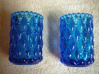 Blue Glass Diamond Beaded Pattern Votive Candle Holders
