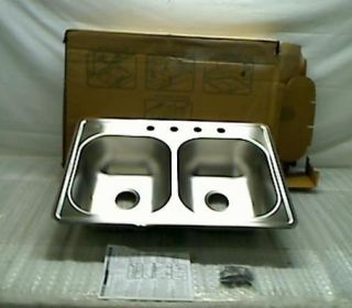 Top Mount Stainless Steel 33x22x7 4 Hole Double Bowl Kitchen Sink