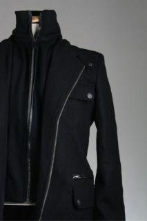 NWT Emanuel Ungaro Black Wool Leather Trim Coat/Jacket S NEW
