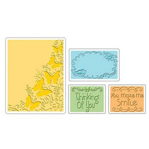 Sizzix Text Impressions Embossing Folders 4PK Butterfly Migration Set