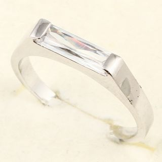 3x10mm Emerald Cut White Sapphire 3 Ring