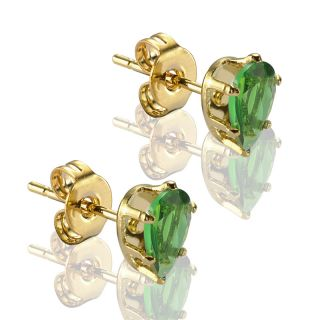 C11 Pear Stud Green Emerald Yellow Gold GP Earrings Ear Ring Cut