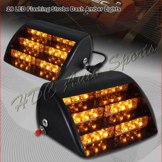 18 x LED Amber Emergency Vehicle Strobe Lights Windshields Dashboard